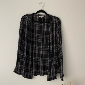 Calvin Klein Jeans Flannel Black Long Sleeve Top M